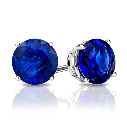 14k White Gold 4-Prong Basket Round Blue Sapphire Gemstone Stud Earrings 0.25 ct. tw.