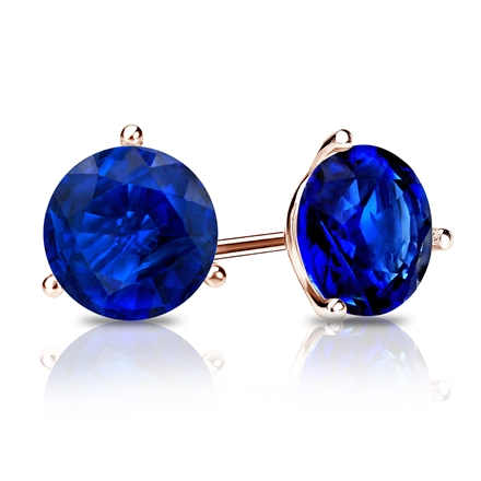 14k Rose Gold 3-Prong Martini Round Blue Sapphire Gemstone Stud Earrings 0.25 ct. tw.