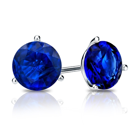 14k White Gold 3-Prong Martini Round Blue Sapphire Gemstone Stud Earrings 0.25 ct. tw.