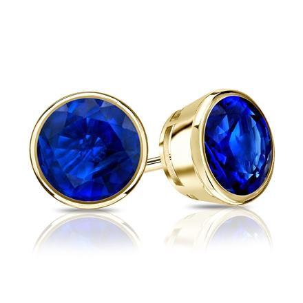 18k Yellow Gold Bezel Round Blue Sapphire Gemstone Stud Earrings 1.00 ct. tw.