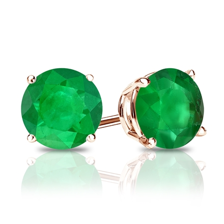 14k Rose Gold 4-Prong Basket Round Green Emerald Gemstone Stud Earrings 0.25 ct. tw.