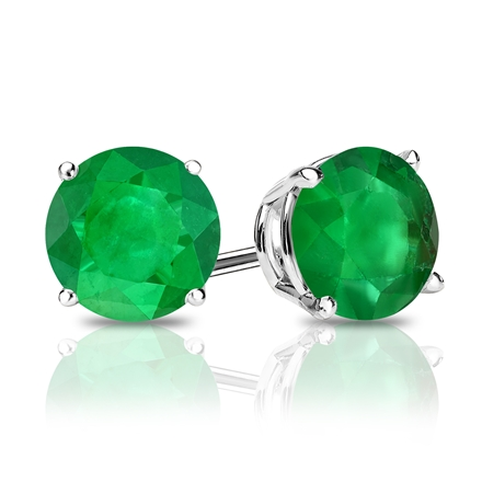 18k White Gold 4-Prong Basket Round Green Emerald Gemstone Stud Earrings 0.75 ct. tw.