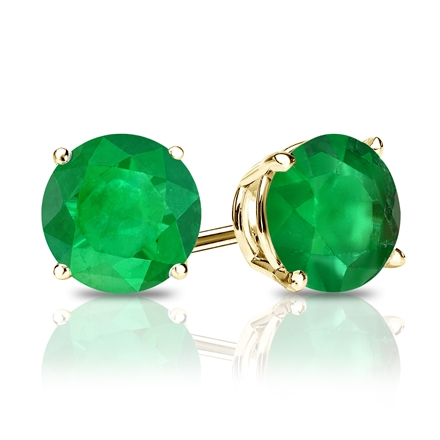 14k Yellow Gold 4-Prong Basket Round Green Emerald Gemstone Stud Earrings 0.25 ct. tw.