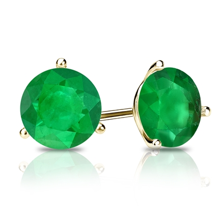 14k Yellow Gold 3-Prong Martini Round Green Emerald Gemstone Stud Earrings 1.00 ct. tw.