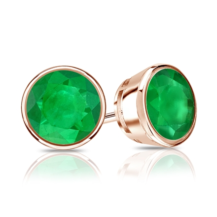 14k Rose Gold Bezel Round Green Emerald Gemstone Stud Earrings 0 33 Ct Tw
