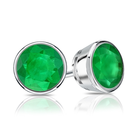 14k White Gold Bezel Round Green Emerald Gemstone Stud Earrings 1.00 ct. tw.