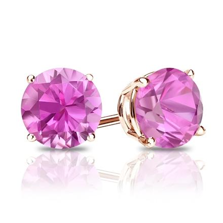 14k Rose Gold 4-Prong Basket Round Pink Sapphire Gemstone Stud Earrings 0.25 ct. tw.