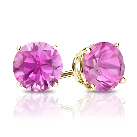 14k Yellow Gold 4-Prong Basket Round Pink Sapphire Gemstone Stud Earrings 0.33 ct. tw.
