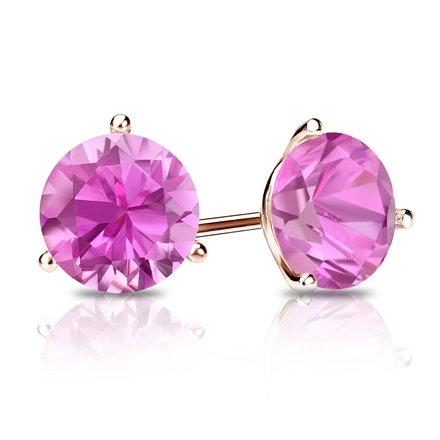 14k Rose Gold 3-Prong Martini Round Pink Sapphire Gemstone Stud Earrings 0.33 ct. tw.