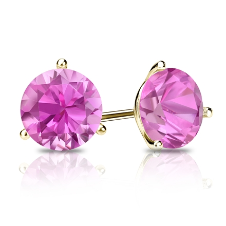 14k Yellow Gold 3-Prong Martini Round Pink Sapphire Gemstone Stud Earrings 0.25 ct. tw.