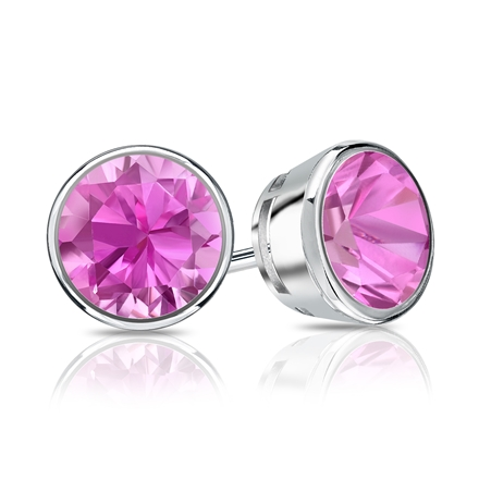18k White Gold Bezel Round Pink Sapphire Gemstone Stud Earrings 0.25 ct. tw.
