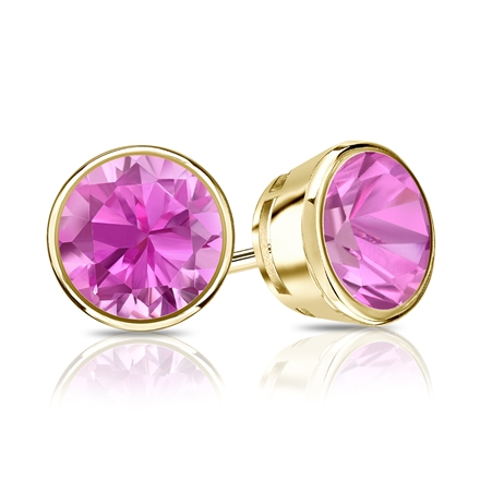 18k Yellow Gold Bezel Round Pink Sapphire Gemstone Stud Earrings 0.25 ct. tw.