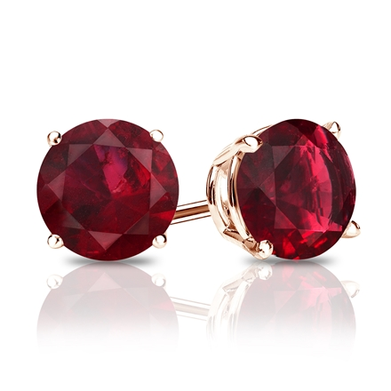14k Rose Gold 4-Prong Basket Round Ruby Gemstone Stud Earrings 0.25 ct. tw.