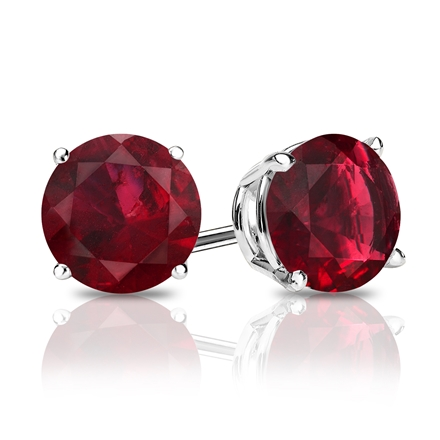 14k White Gold 4-Prong Basket Round Ruby Gemstone Stud Earrings 0.25 ct. tw.