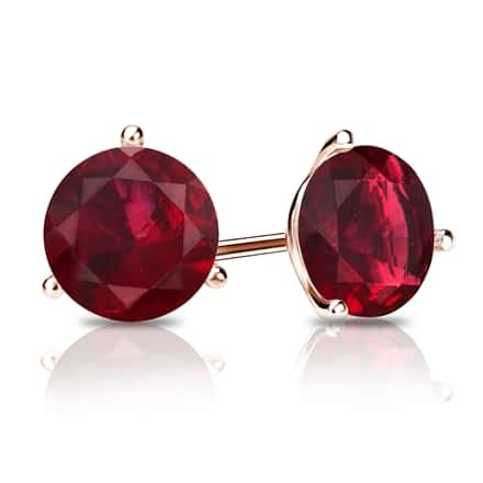 14k Rose Gold 3-Prong Martini Round Ruby Gemstone Stud Earrings 0.25 ct. tw.