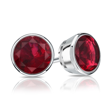 14k White Gold Bezel Round Ruby Gemstone Stud Earrings 1 50 Ct Tw