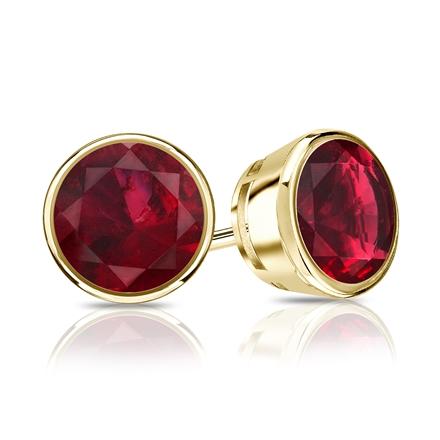 18k Yellow Gold Bezel Round Ruby Gemstone Stud Earrings 0.25 ct. tw.