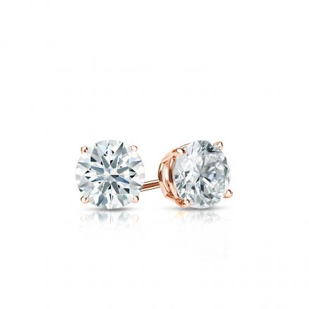 Certified 14k Rose Gold 4-Prong Basket Hearts & Arrows Diamond Stud Earrings 0.33 ct. tw. (F-G, I1-I2)
