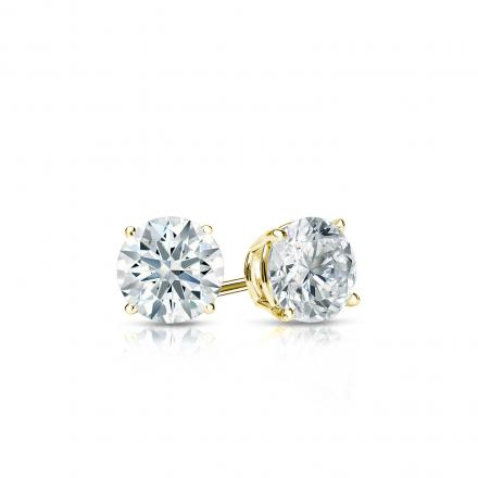 Certified 18k Yellow Gold 4-Prong Basket Hearts & Arrows Diamond Stud Earrings 0.33 ct. tw. (F-G, I1-I2)
