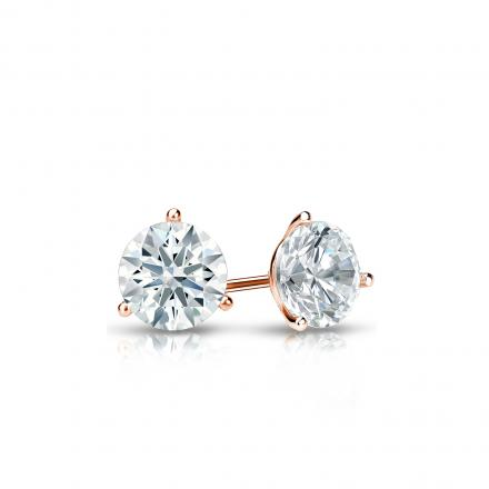 Certified 14k Rose Gold 3-Prong Martini Hearts & Arrows Diamond Stud Earrings 0.33 ct. tw. (F-G, I1-I2)
