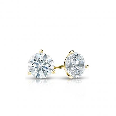 Certified 18k Yellow Gold 3-Prong Martini Hearts & Arrows Diamond Stud Earrings 0.33 ct. tw. (F-G, I1-I2)