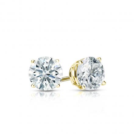 Certified 18k Yellow Gold 4-Prong Basket Hearts & Arrows Diamond Stud Earrings 0.50 ct. tw. (F-G, I1-I2)