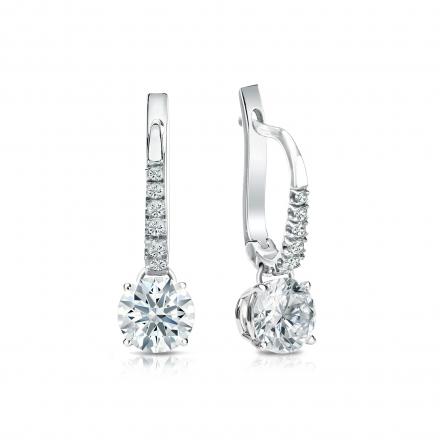 Certified 18k White Gold Dangle Studs 4-Prong Basket Hearts & Arrows Diamond Earrings 1.00 ct. tw. (H-I, I1-I2)
