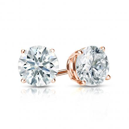 Certified 14k Rose Gold 4-Prong Basket Hearts & Arrows Diamond Stud Earrings 1.00 ct. tw. (H-I, I1-I2)