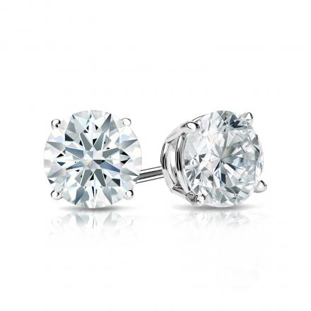 Certified 18k White Gold 4-Prong Basket Hearts & Arrows Diamond Stud Earrings 1.00 ct. tw. (G-H, SI1-SI2)