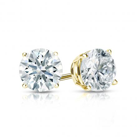 Certified 18k Yellow Gold 4-Prong Basket Hearts & Arrows Diamond Stud Earrings 1.00 ct. tw. (H-I, I1-I2)
