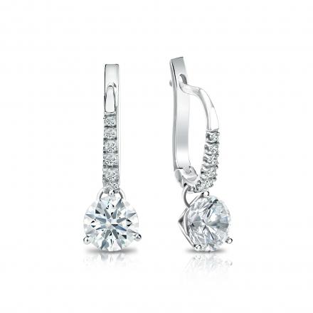 Certified 18k White Gold Dangle Studs 3-Prong Martini Hearts & Arrows Diamond Earrings 1.00 ct. tw. (F-G, VS1-VS2)