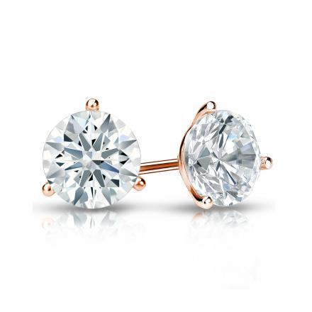 Certified 14k Rose Gold 3 G Martini Hearts Arrows Diamond Stud Earrings 1 00 Ct