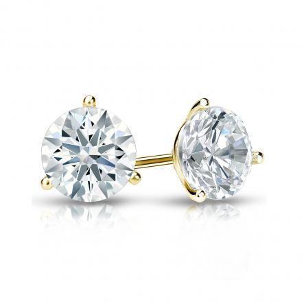 Certified 18k Yellow Gold 3-Prong Martini Hearts & Arrows Diamond Stud Earrings 1.00 ct. tw. (H-I, I1-I2)