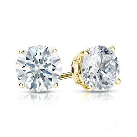 Certified 18k Yellow Gold 4-Prong Basket Hearts & Arrows Diamond Stud Earrings 1.25 ct. tw. (H-I, I1-I2)