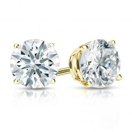 Certified 18k Yellow Gold 4-Prong Basket Hearts & Arrows Diamond Stud Earrings 1.50 ct. tw. (H-I, I1-I2)