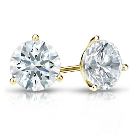 Certified 14k Yellow Gold 3-Prong Martini Hearts & Arrows Diamond Stud Earrings 1.50 ct. tw. (F-G, I1-I2)