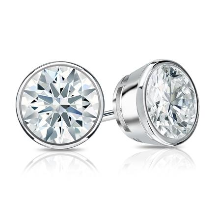 Certified 14k White Gold Bezel Hearts & Arrows Diamond Stud Earrings 1.50 ct. tw. (F-G, I1-I2)