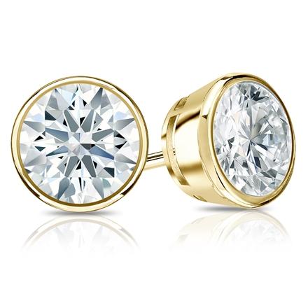 Certified 14k Yellow Gold Bezel Hearts & Arrows Diamond Stud Earrings 2.00 ct. tw. (F-G, I1-I2)