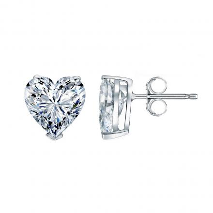Certified 14k White Gold Heart Diamond Stud Earrings 0.75 ct. tw. (G-H, SI1-SI2)