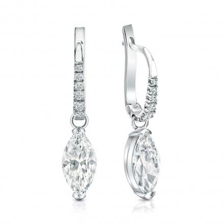 Certified 14k White Gold Dangle Studs V End G Marquise Cut Diamond Earrings 2 00 Ct