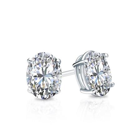 38252a0244301 Certified 14k White Gold 4-Prong Basket Oval Diamond Stud Earrings 0.62 ct.  tw. (G-H, VS1-VS2)