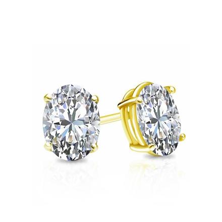 Certified 14k Yellow Gold 4-Prong Basket Oval Diamond Stud Earrings 0.62 ct. tw. (I-J, I1-I2)