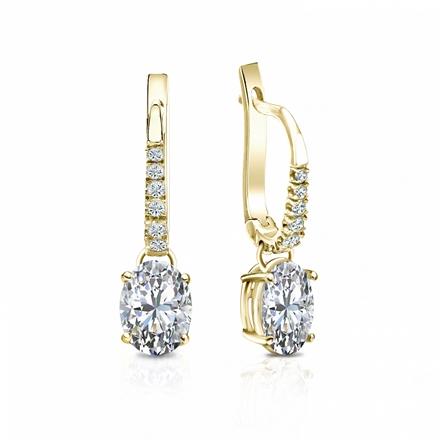 Certified 18k Yellow Gold Dangle Studs  4-Prong Basket Oval Diamond Earrings 1.00 ct. tw. (G-H, VS1-VS2)