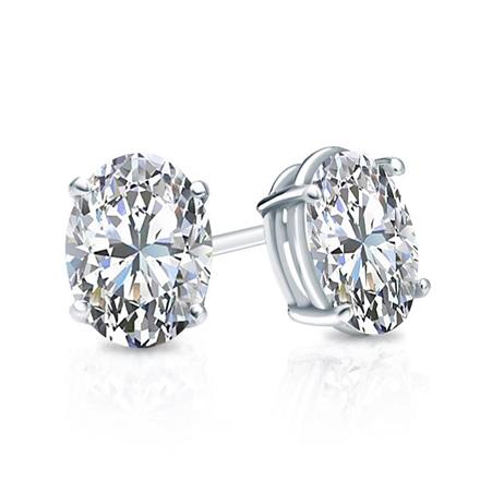 bcb7c05f2 Certified 14k White Gold 4-Prong Basket Oval Diamond Stud Earrings 1.00 ct.  tw. (G-H, VS2) - DiamondStuds.com