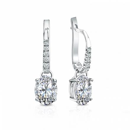 Certified Platinum Dangle Studs  4-Prong Basket Oval Diamond Earrings 1.50 ct. tw. (I-J, I1-I2)