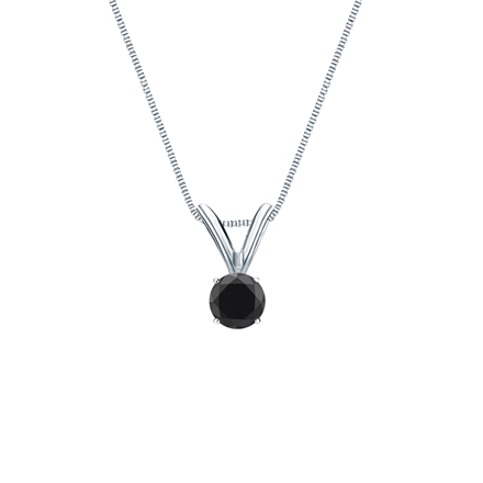 14k White Gold 4-Prong Basket  Certified Round-cut Black Diamond Solitaire Pendant 0.25 ct. tw.