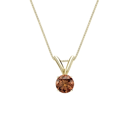 18k Yellow Gold 4-Prong Basket Certified Round-cut Brown Diamond Solitaire Pendant 0.25 ct. tw. (SI1-SI2)