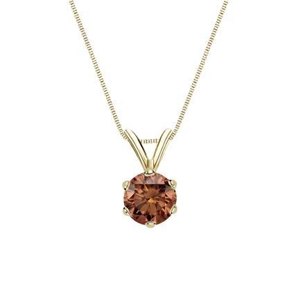18k Yellow Gold 6-Prong Basket Certified Round-cut Brown Diamond Solitaire Pendant 0.50 ct. tw. (SI1-SI2)