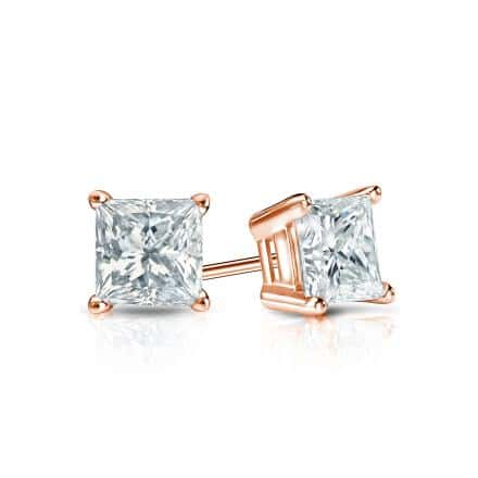Certified 14k Rose Gold 4-Prong Basket Princess-Cut Diamond Stud Earrings 0.50 ct. tw. (H-I, SI2)