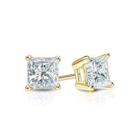 Certified 14k Yellow Gold 4-Prong Basket Princess-Cut Diamond Stud Earrings 0.50 ct. tw. (I-J, I1-I2)